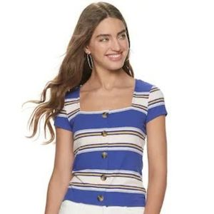 Juniors' Candie's Square Neck Ribbed Tee